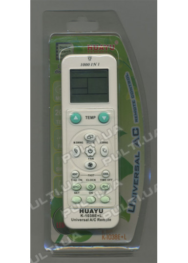 Универсальный пульт HUAYU для кондиционера K-1038E+L (1000 кодов)