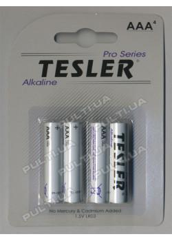 Батарейки TESLER ALKALINE LR03-4  SIZE  AAA 4 штуки блистер